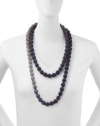 Eileen Fisher   Blue Mini Striped Beaded Necklace   Lyst