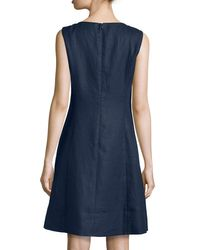 Lafayette 148 New York - Blue Laurette Sleeveless Linen A-line Dress - Lyst
