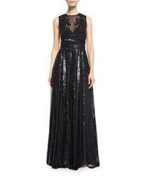 Zuhair Murad - Black Beaded Sleeveless A-line Gown - Lyst