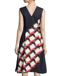 SUNO - Black Diagonal Square Zip-front Midi Dress - Lyst