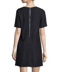 Suno - Black Short-sleeve Metal-stud Shift Dress - Lyst