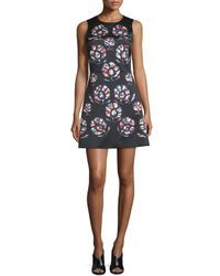Cynthia Rowley | Black Sleeveless Floral-print Mini Dress | Lyst