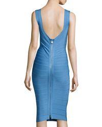 Hervé Léger | Blue Sleeveless Bateau-neck Bandage Dress | Lyst