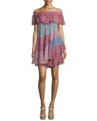 Rebecca Taylor   Pink Off-the-shoulder Patchwork Mini Dress   Lyst