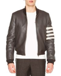 Thom Browne - Gray Leather Zip-up Varsity Jacket for Men - Lyst