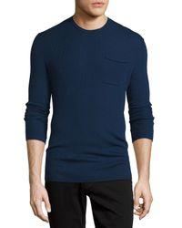 VINCE | Blue Ribbed Knit Crewneck Sweater for Men | Lyst
