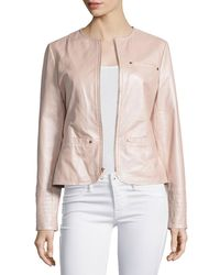 Neiman Marcus | White Pearlized Leather Jacket | Lyst