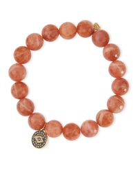 Sydney Evan | Orange 10mm Faceted Moonstone Beaded Bracelet W/ 14k Diamond Evil Eye Charm | Lyst