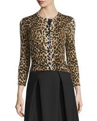 Carolina Herrera | Black 3/4-sleeve Leopard-print Cardigan | Lyst