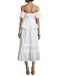 Rebecca Taylor - White Off-the-shoulder Peplum-top Dress - Lyst