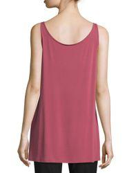 Eileen Fisher - Red Sleeveless Long Silk Jersey Tank - Lyst