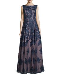 Adrianna Papell - Blue Sleeveless Embroidered Ball Gown - Lyst