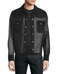 CoSTUME NATIONAL | Black Kaban Snap-front Leather Jacket for Men | Lyst