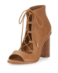 Joie | Brown Cordelia Lace-up Open-toe Chunky-heel Bootie | Lyst