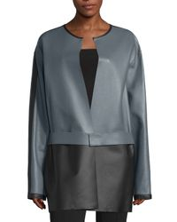 CoSTUME NATIONAL | Gray Colorblock Leather Jacket | Lyst