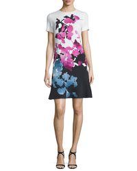 ESCADA - Multicolor Short-sleeve Orchid-print Colorblock Dress - Lyst