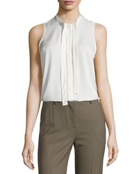 Theory | White Jazlina Modern Georgette Silk Top | Lyst