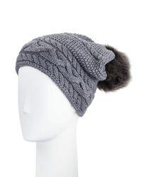 Ugg - Gray Cable-knit Beanie W/ Pompom - Lyst