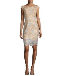 Jovani | Natural Off-the-shoulder Two-tone Lace Cocktail Dress | Lyst