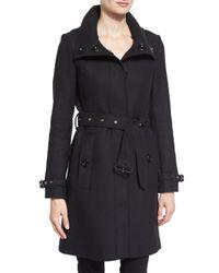 Burberry Brit | Black Gibbsmore Wool-blend Single-breasted Coat | Lyst