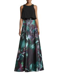 THEIA - Black Sleeveless Popover Floral-print Gown - Lyst
