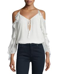 Haute Hippie - White The Flowers In The Sun Silk Cold-shoulder Blouse - Lyst