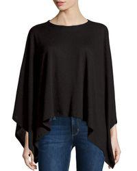 Neiman Marcus   Black Double-face Cotton/cashmere Knit Poncho   Lyst