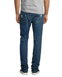 7 For All Mankind | Blue Paxtyn Distressed Denim Jeans for Men | Lyst