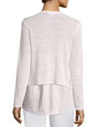 Eileen Fisher - White Draped-front Organic Linen Cardigan - Lyst