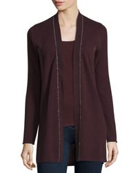 Neiman Marcus | Purple Long Chain-trimmed Open-front Cashmere Cardigan | Lyst