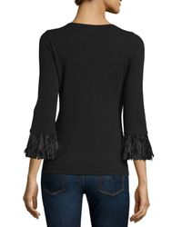 Neiman Marcus - Black 3/4-sleeve Feather-trim Cashmere V-neck Sweater - Lyst