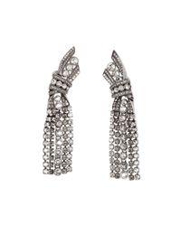 Lanvin - Black Crystal Bow Drop Earrings - Lyst