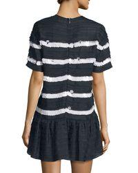 RED Valentino - White Short-sleeve Mini-ruffle Striped Dress - Lyst