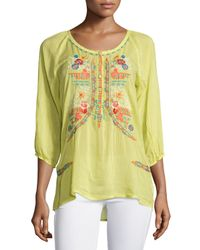 Johnny Was - Yellow Ari 3/4-sleeve Embroidered Blouse - Lyst