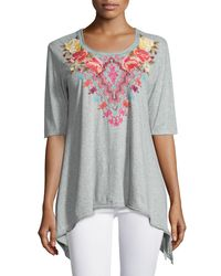 Johnny Was - Gray Cecilia Embroidered Trapeze Tee - Lyst