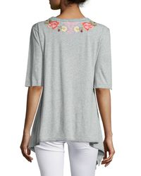 Johnny Was - Yellow Cecilia Embroidered Trapeze Tee - Lyst