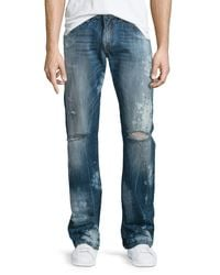 True Religion - Blue Geno Distressed Straight-leg Jeans for Men - Lyst