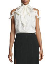 Rachel Zoe - White Drayton Cold-shoulder Tie-neck Top - Lyst