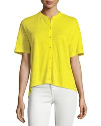 Eileen Fisher | Yellow Short-sleeve Button-front Linen Jersey Top | Lyst