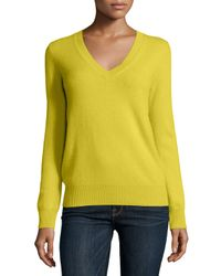 Neiman Marcus | Yellow Long-sleeve V-neck Cashmere Top | Lyst