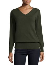 Neiman Marcus | Green Long-sleeve V-neck Relaxed-fit Cashmere Sweater | Lyst