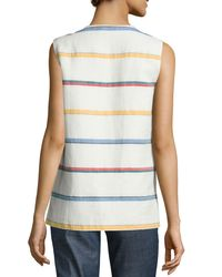 Tory Burch - Multicolor Avery Embroidered Multi-striped Tunic - Lyst