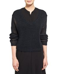 Eileen Fisher   Black Fisher Project V-neck Organic Cotton Tape Box Top   Lyst