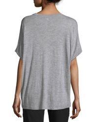 Vince - Gray Cuffed-sleeve Heathered Cocoon Top - Lyst