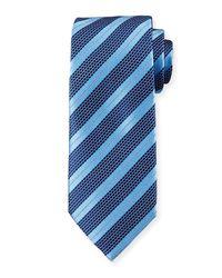 Ermenegildo Zegna   Blue Textured Stripe Silk Tie for Men   Lyst