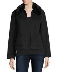 Neiman Marcus | Black Cropped Cashmere Jacket W/ Rabbit Fur Collar | Lyst