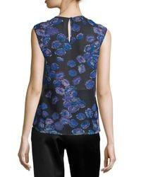 Jason Wu - Blue Sleeveless Ruffled Floral-print Top - Lyst