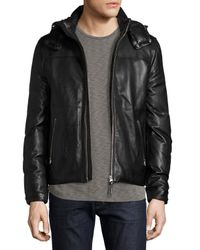 Mackage | Black Balfour Leather Down Bomber Jacket for Men | Lyst