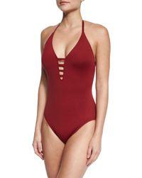 La Blanca | Red Island Goddess Mio Halter One-piece Swimsuit | Lyst