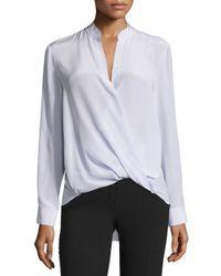 3.1 Phillip Lim - White Long-sleeve Silk Surplice Blouse - Lyst